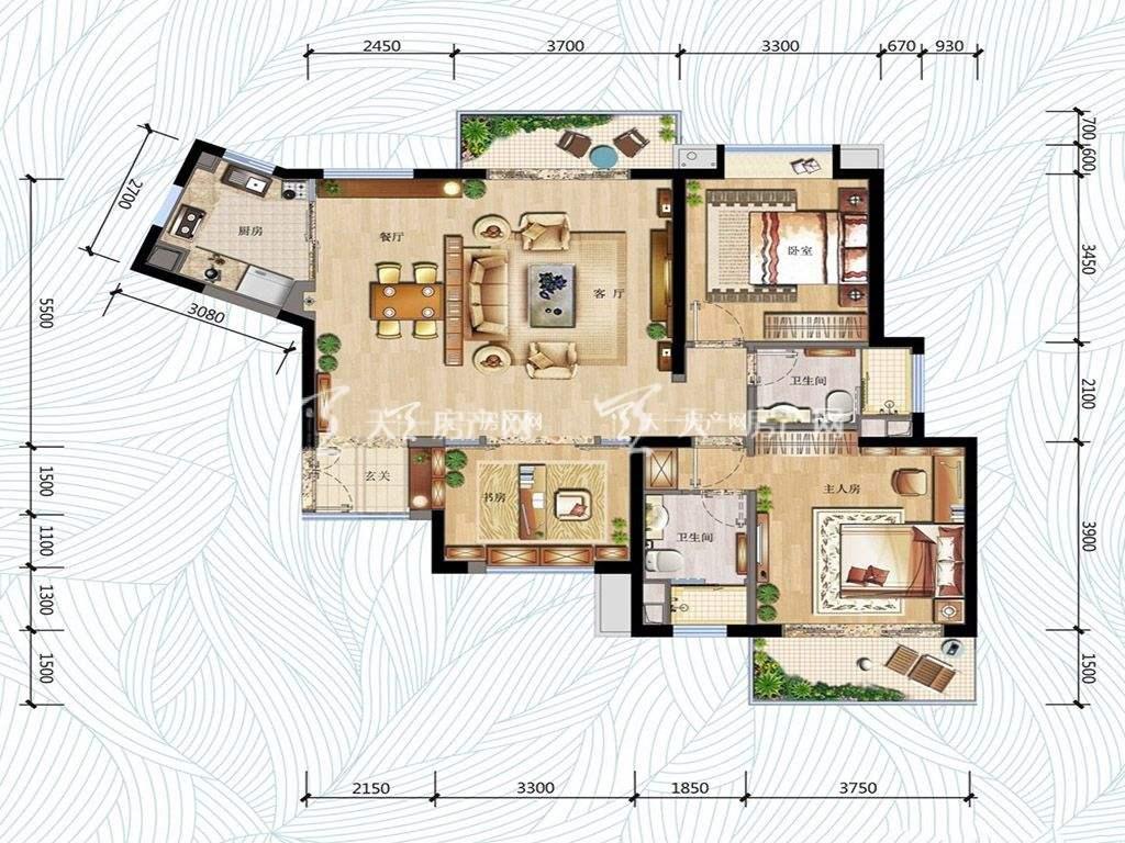 万科红树东岸万科红树东岸高层1#0203户型图3室2厅2卫1厨建筑面积120㎡