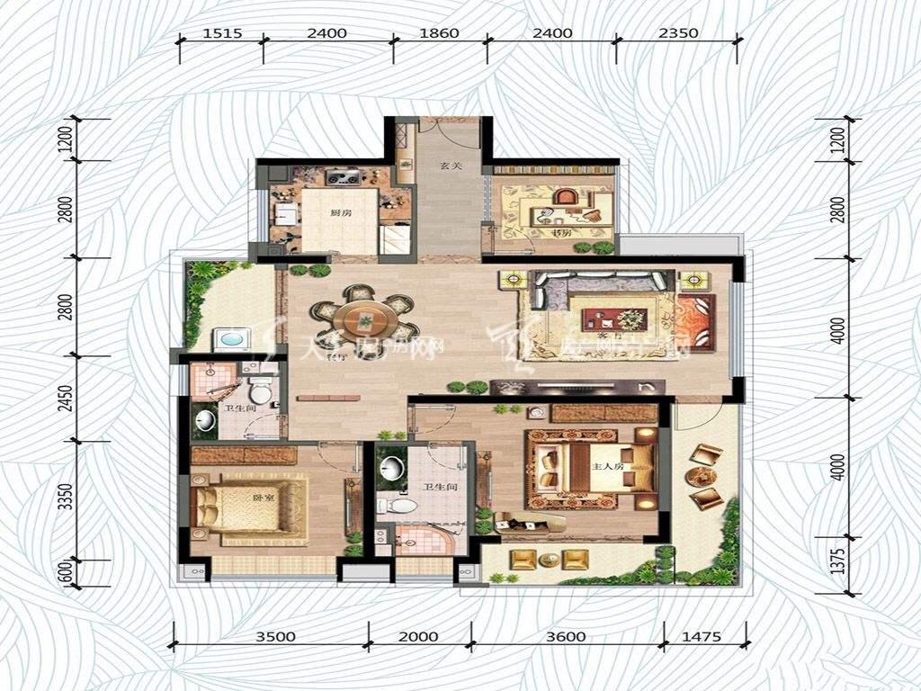 万科红树东岸万科红树东岸高层2#01户型图3室2厅2卫1厨建筑面积122㎡