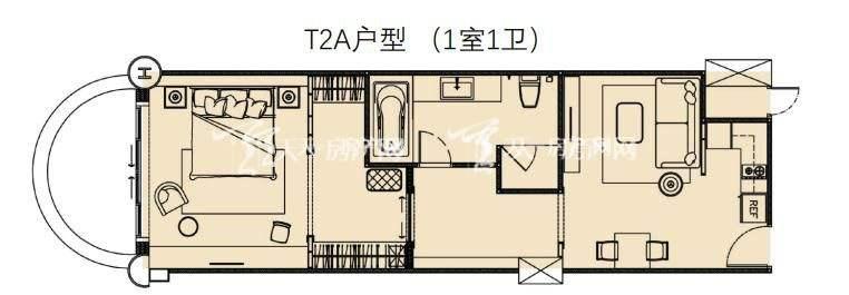 莲花酒店公寓T2A户型1室1卫