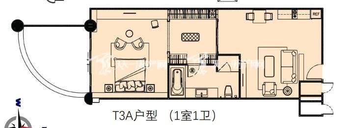 莲花酒店公寓T3A户型1室1卫