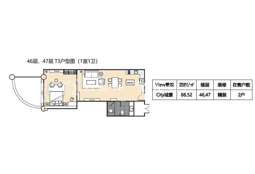莲花酒店公寓T3户型1室1卫