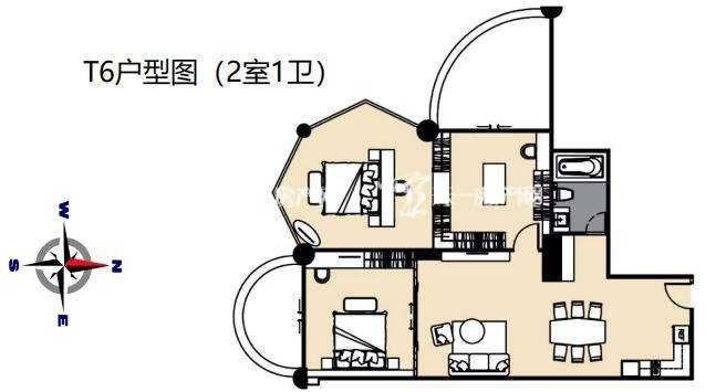 莲花酒店公寓T6户型2室1卫