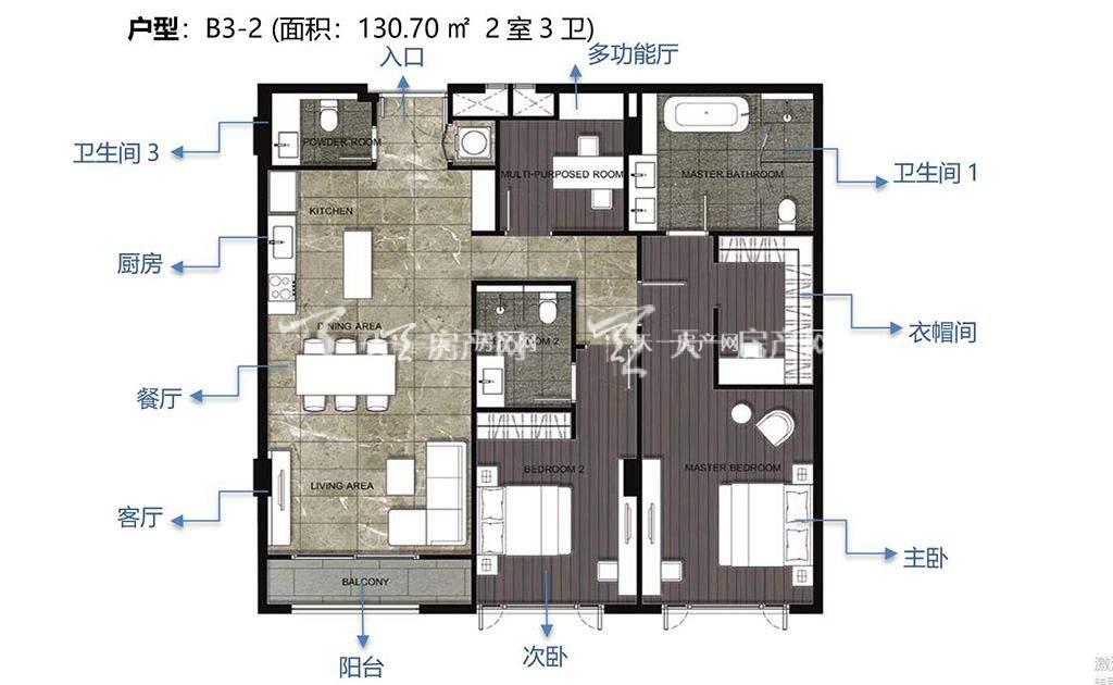 通罗凝婉郡B3-2户型2室3卫