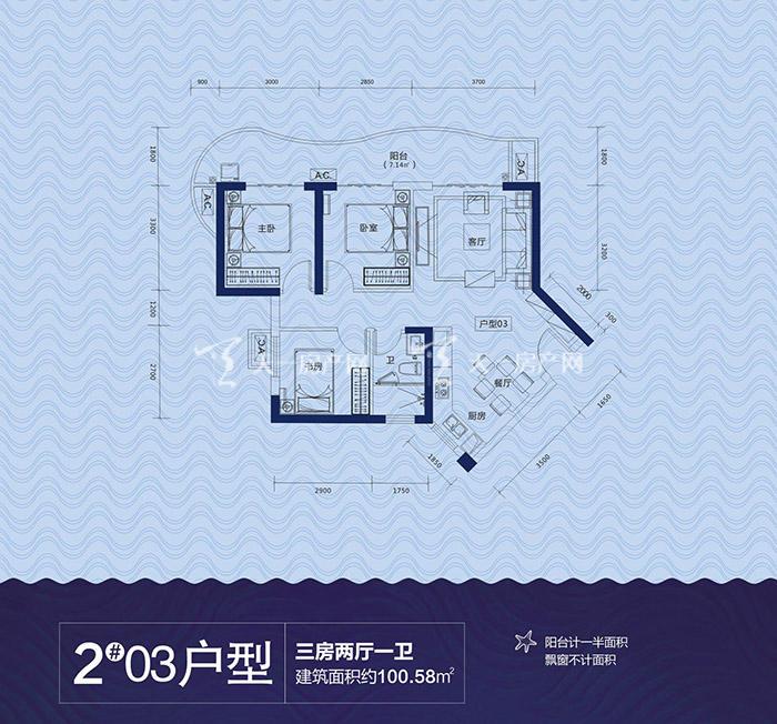 云星海景台2#03户型3室1厅1卫建筑面积约100.58m².jpg