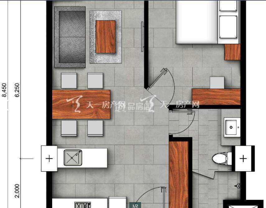 首都国金(Urban Village)A户型 1房1厅1卫 (建筑面积) 50㎡.jpg