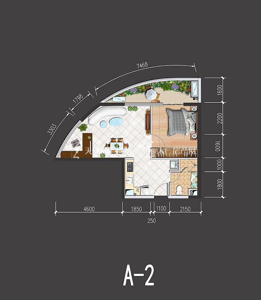 星汇海景湾-Xinghui Seaview Bay1室1厅1厨1卫建筑面积69㎡