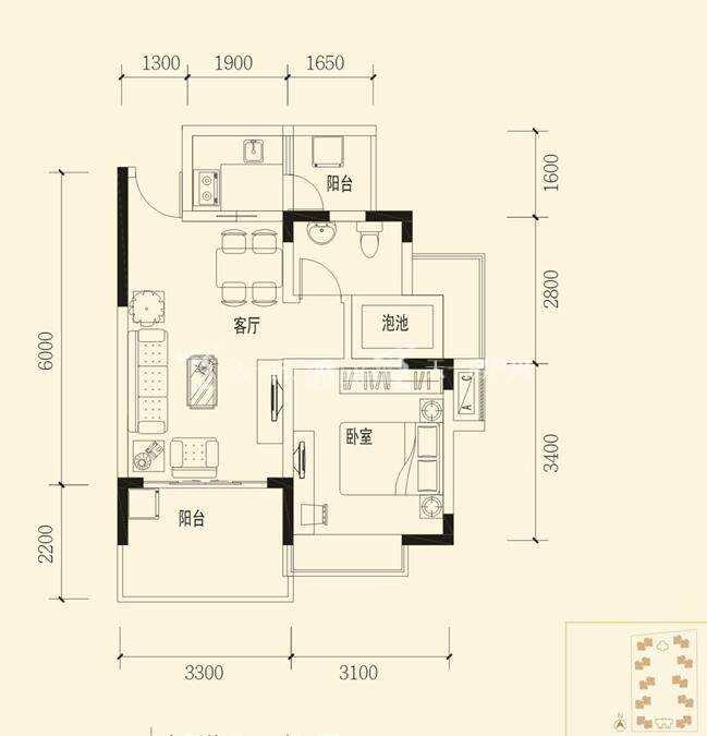 衍宏春天建筑面积:53.77㎡ 一室两厅一卫.jpg