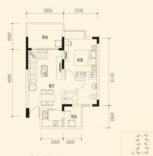 衍宏春天建筑面积:55.16㎡ 一室两厅一卫.jpg
