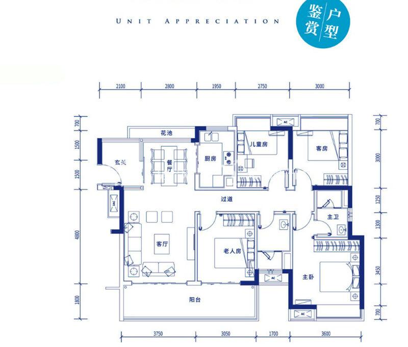 保利浅海D1户型:四房两厅两卫建筑面积121㎡.jpg