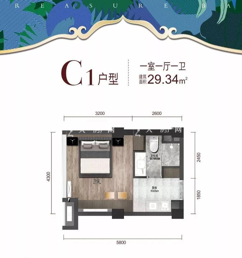 铂钰蓝湾-Platinum Blue BayC1户型一室一厅一卫建筑面积29.34㎡.jpg