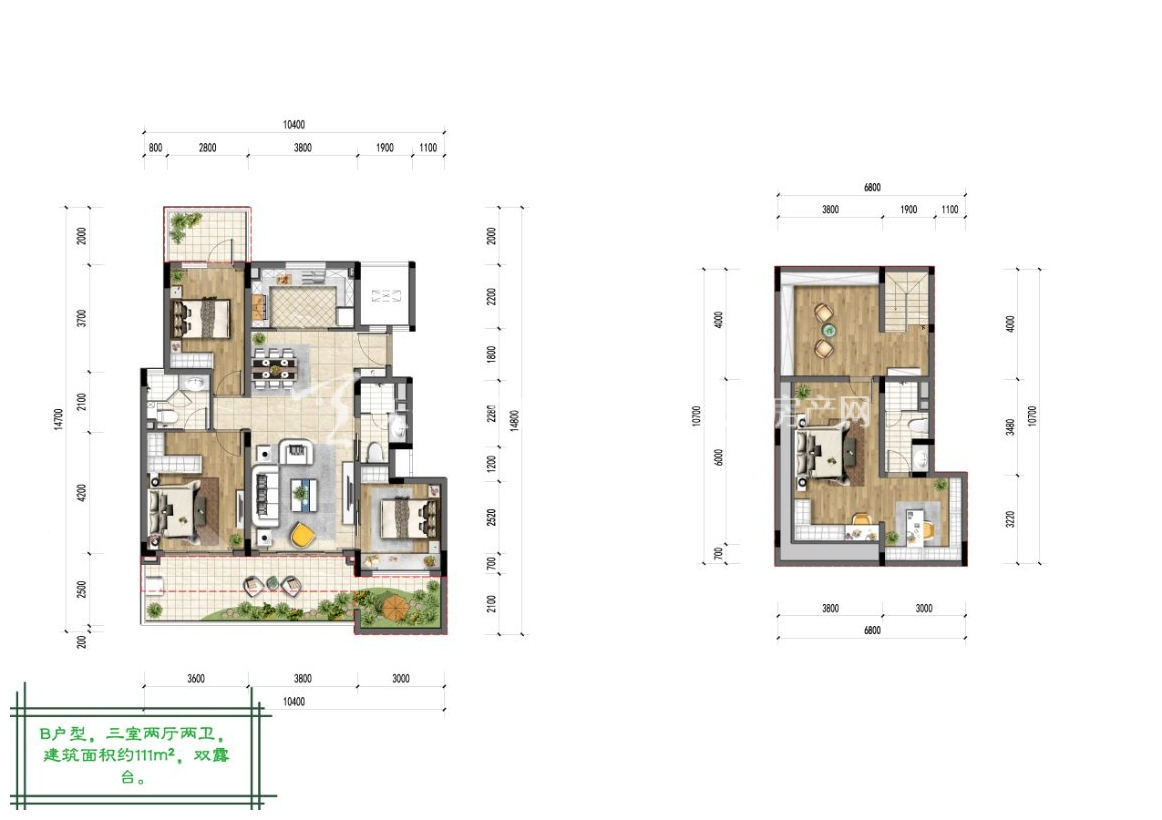 融创博鳌金湾B户型:3室2厅2卫1厨 建筑面积111㎡