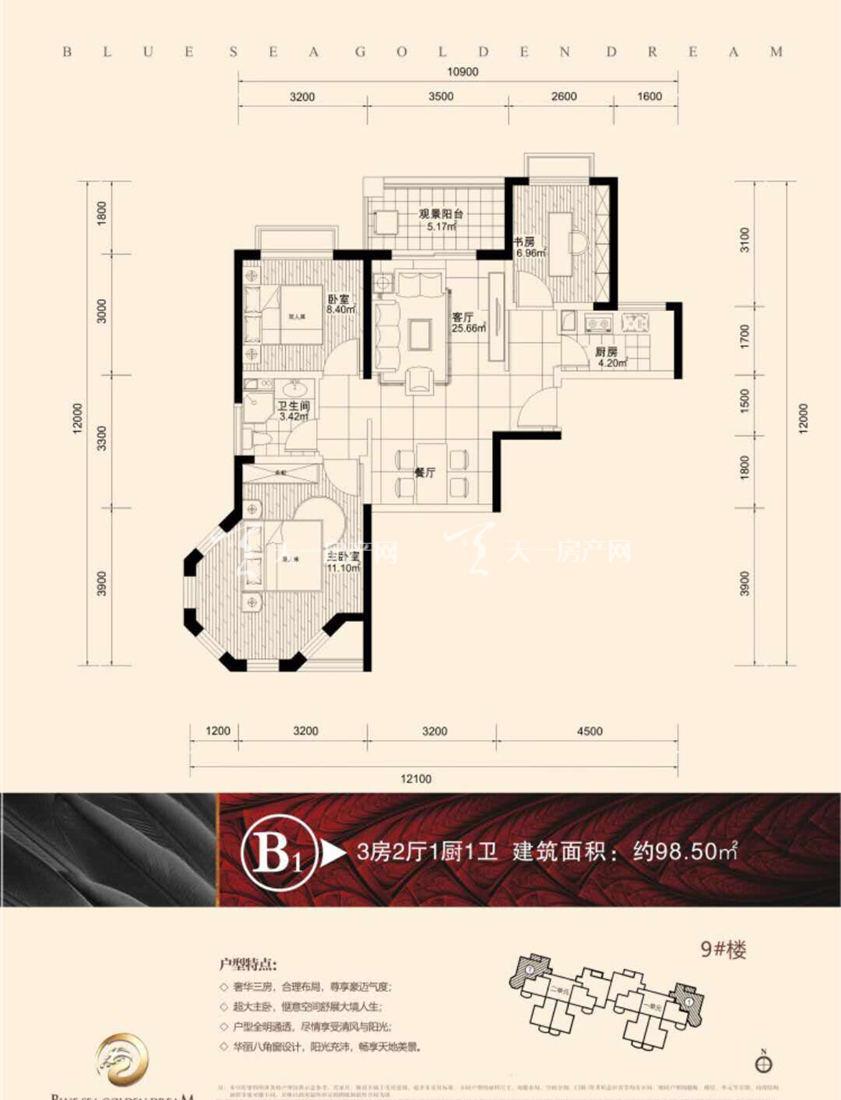 碧海金珠B1户型 3室2厅1卫1厨