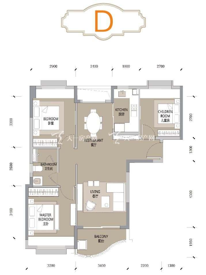 合景汀澜海岸D户型 3室2厅1卫1厨 建筑面积90㎡