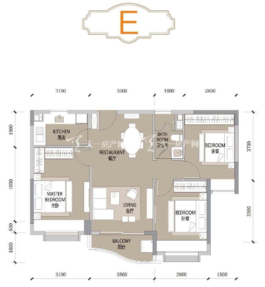 合景汀澜海岸E户型 3室2厅2卫1厨 建筑面积90㎡