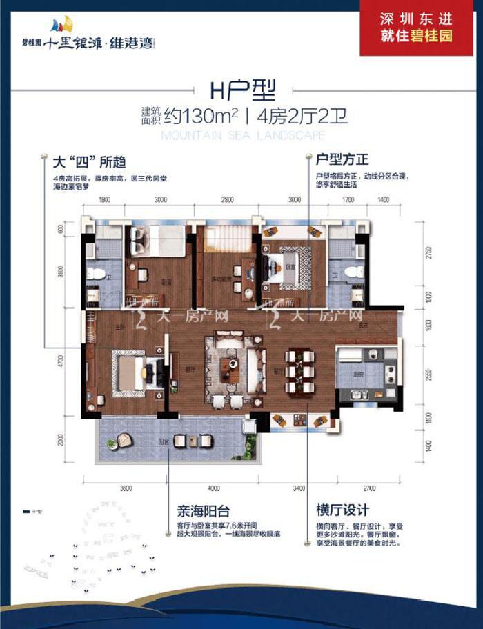 碧桂园十里银滩H户型 4室2厅2卫 建筑面积130㎡