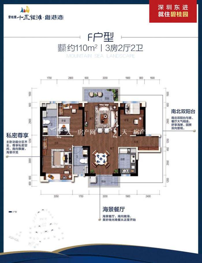 碧桂园十里银滩F户型 3室2厅2卫 建筑面积110㎡