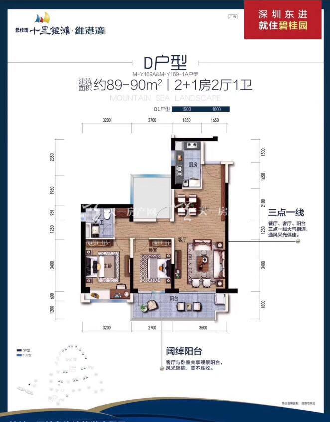 碧桂园十里银滩D户型 2+1室2厅1卫 建筑面积89-90㎡