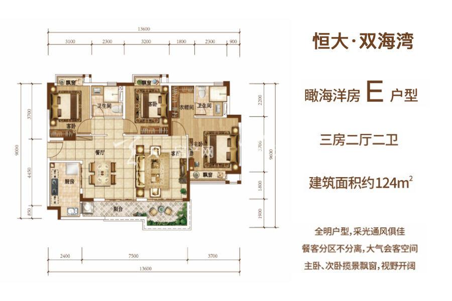 恒大双海湾瞰海洋房E户型 建筑面积约124平 三房两厅.jpg