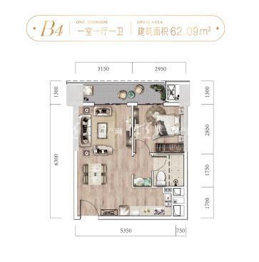 太子寰宇中心B4户型一室一厅一卫62.09㎡