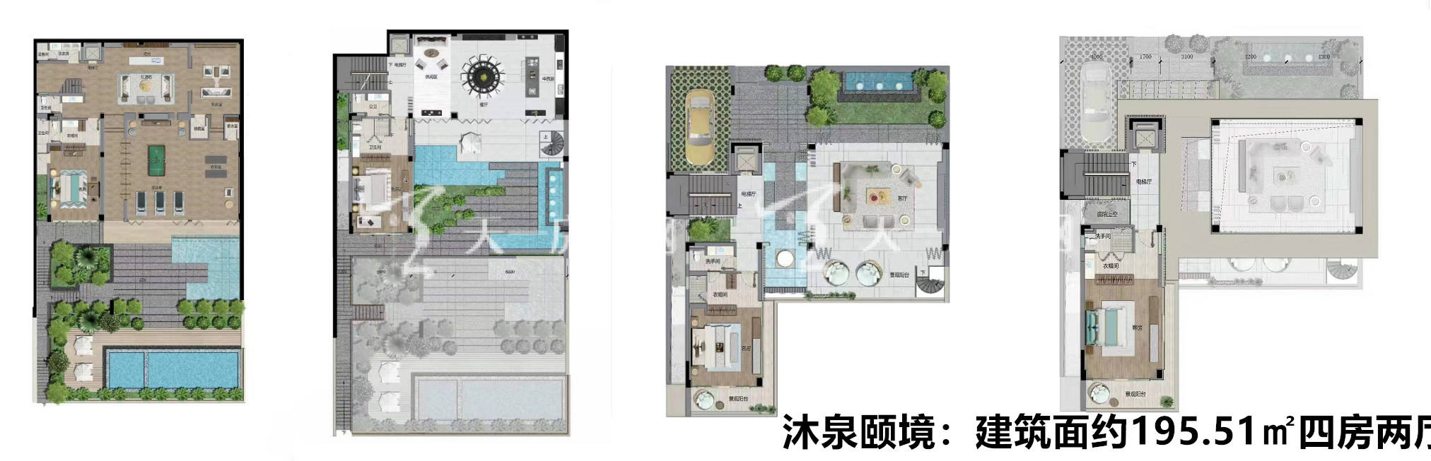 佳兆业海棠四季沐泉颐境户型:4室2厅1卫1厨 建筑面积195.51㎡