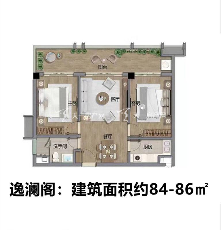 佳兆业海棠四季逸澜阁户型:2室2厅1卫1厨 建筑面积84-86㎡
