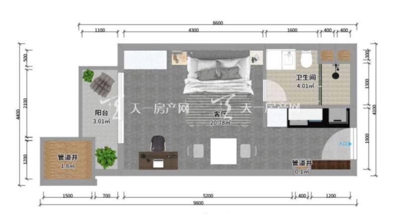 上都国际-Shangdu International16#建筑面积59㎡