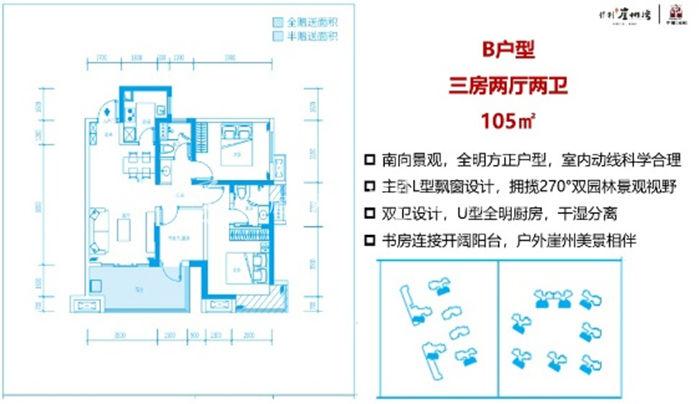保利崖州湾B户型:3室2厅2卫1厨 建筑面积105㎡