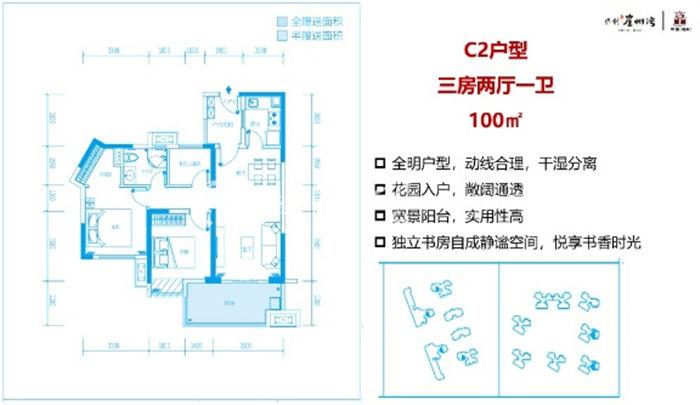 保利崖州湾C2户型:3室2厅1卫1厨 建筑面积100㎡