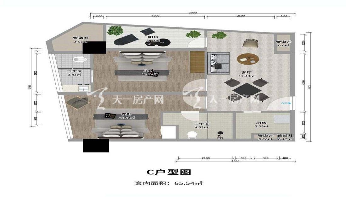 上都国际-Shangdu InternationalC户型:2室1厅2卫1厨 建筑面积65.54㎡