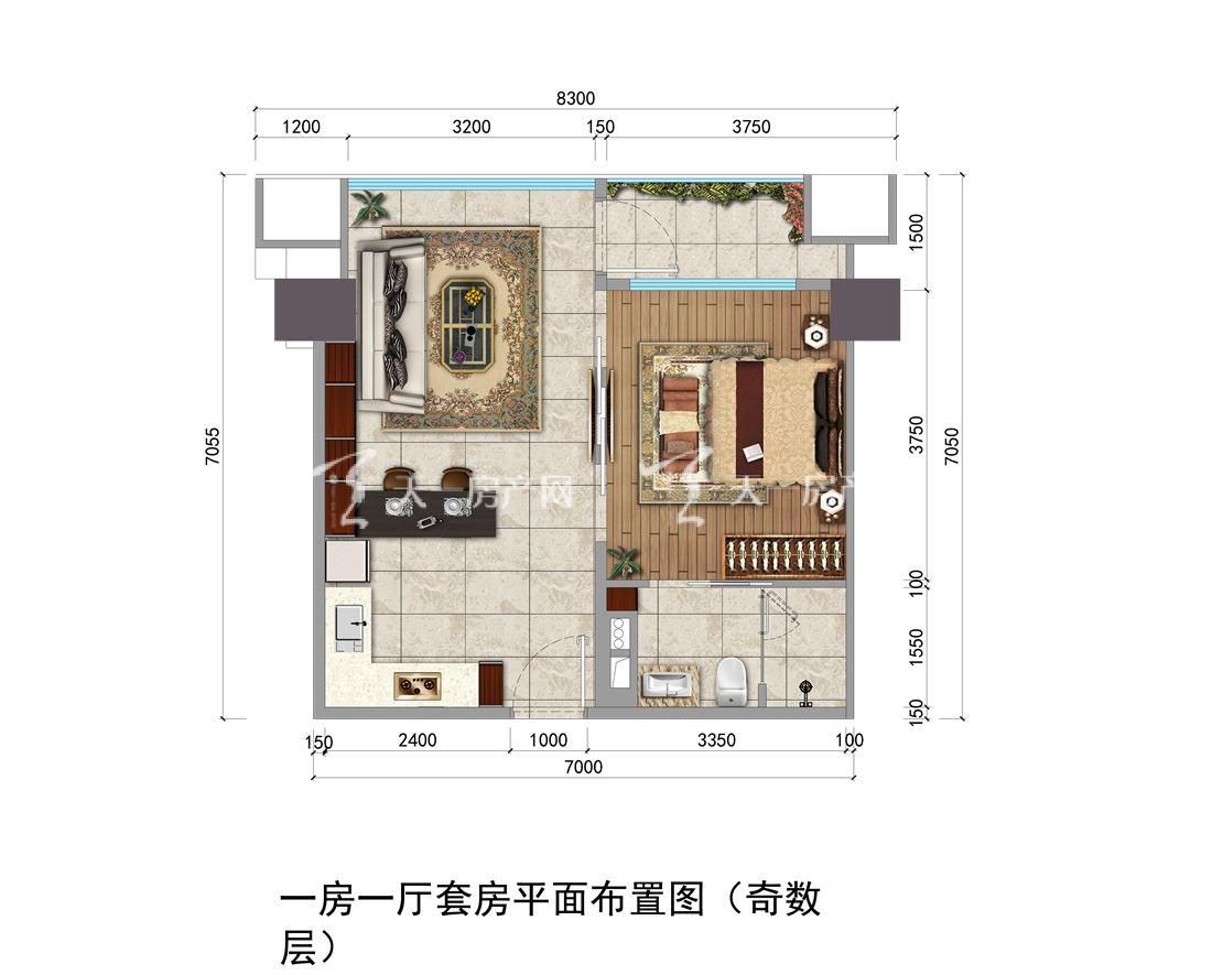 上都国际-Shangdu International02#户型:1室1厅1卫1厨 建筑面积56.66㎡