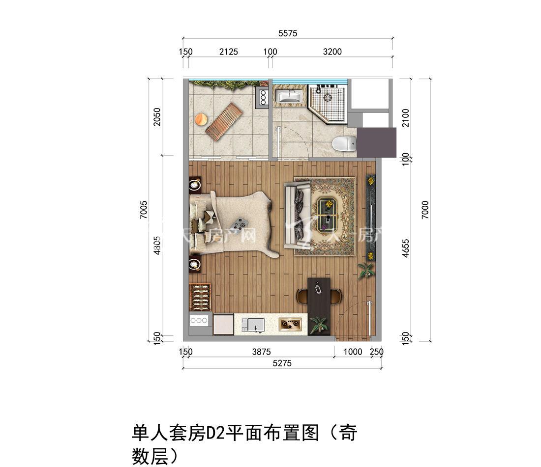 上都国际-Shangdu International03#户型:1室1厅1卫1厨 建筑面积40.05㎡