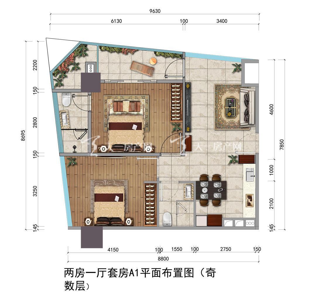 上都国际-Shangdu International06#户型:2室1厅1卫1厨 建筑面积84.16㎡