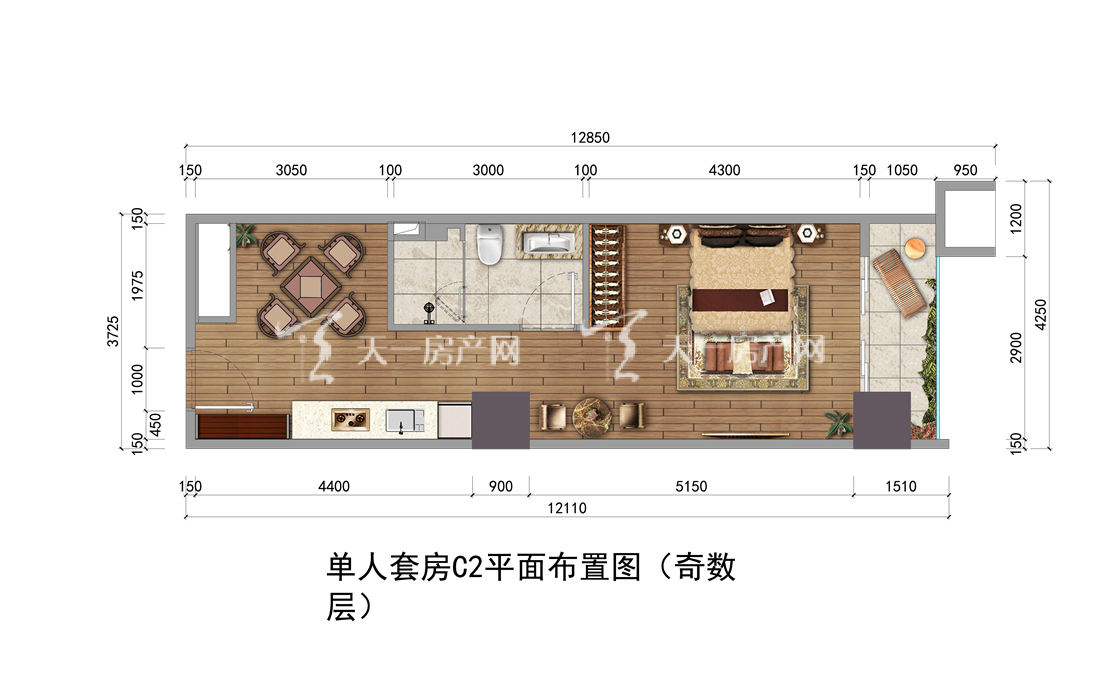 上都国际-Shangdu International15#户型:1室1厅1卫1厨 建筑面积50.53㎡