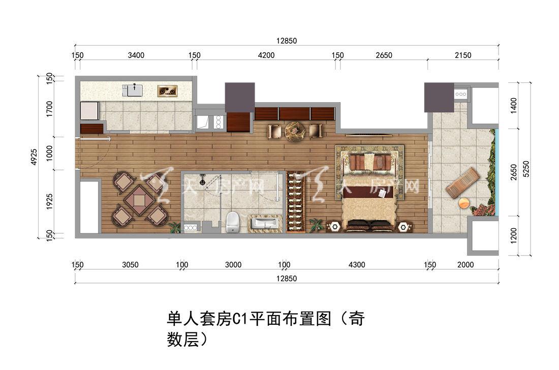 上都国际-Shangdu International16#户型:1室1厅1卫1厨 建筑面积59.22㎡