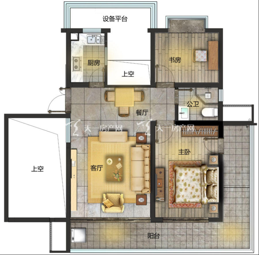 观澜湖上东区Ⅱ区A户型/3房2厅2卫/建筑面积:约103-105㎡