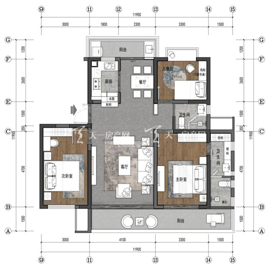 观澜湖上东区Ⅱ区A户型/3房2厅2卫/建筑面积:约131㎡