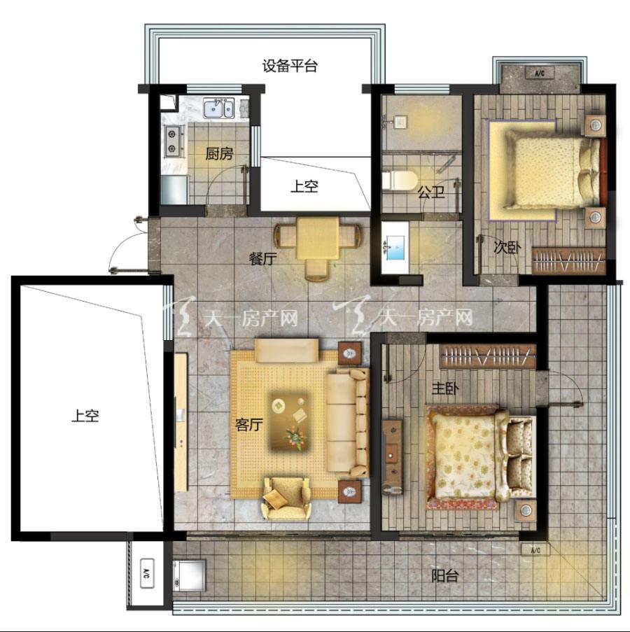 观澜湖上东区Ⅱ区B户型/3房2厅2卫/建筑面积:约121㎡