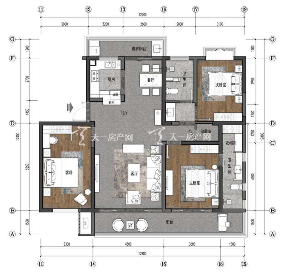 观澜湖上东区Ⅱ区B户型/3房2厅2卫/建筑面积:约159㎡