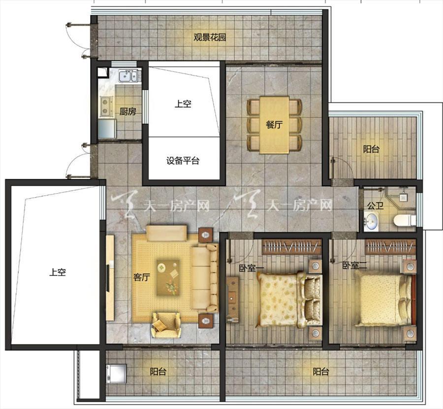 观澜湖上东区Ⅱ区C户型/4房2厅2卫/建筑面积:约138-141㎡