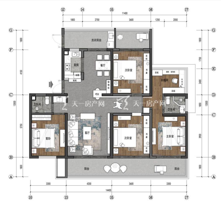 观澜湖上东区Ⅱ区C户型/4房2厅2卫/建筑面积:约170㎡
