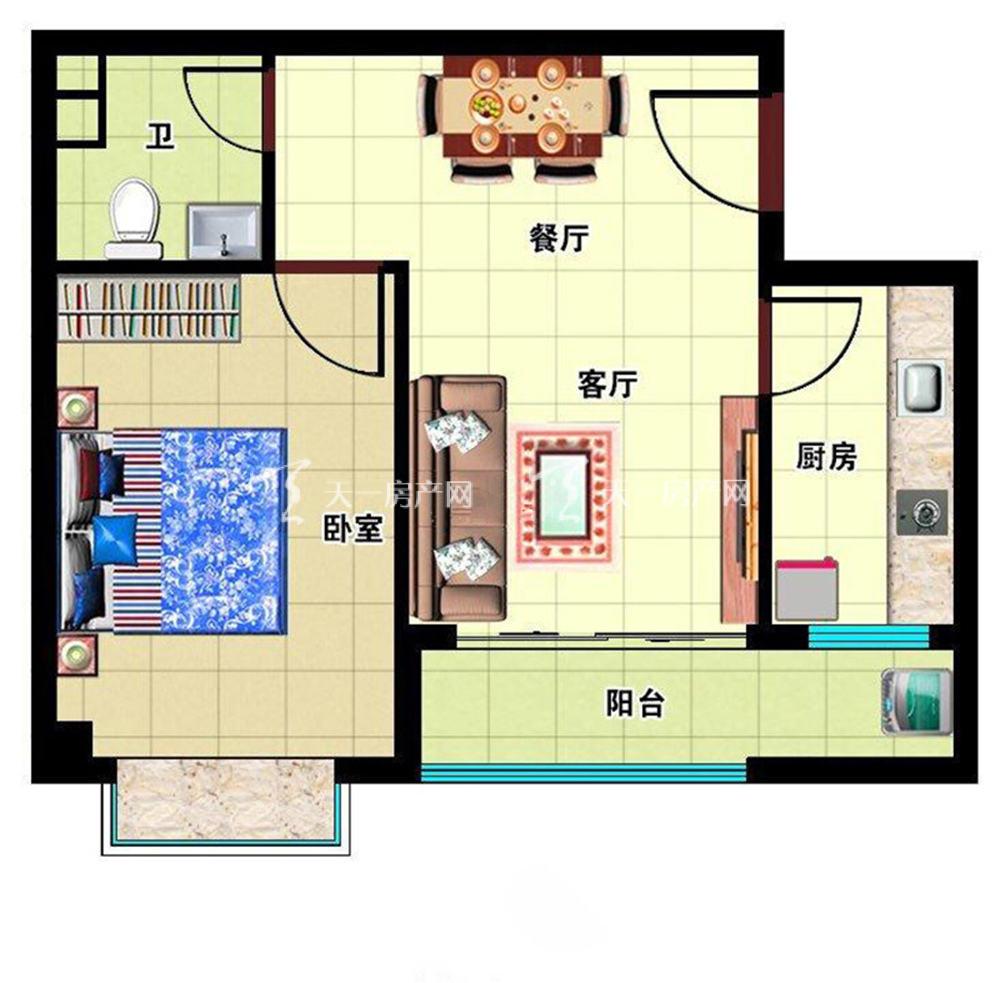 月亮湖畔户型:1室2厅1卫1厨 建筑面积52㎡
