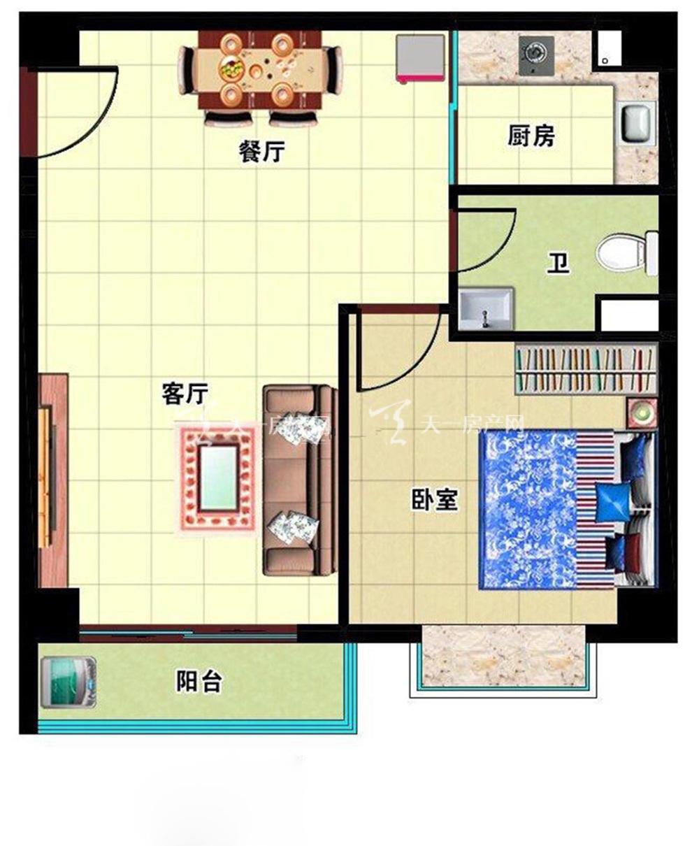 月亮湖畔户型:1室2厅1卫1厨 建筑面积61㎡