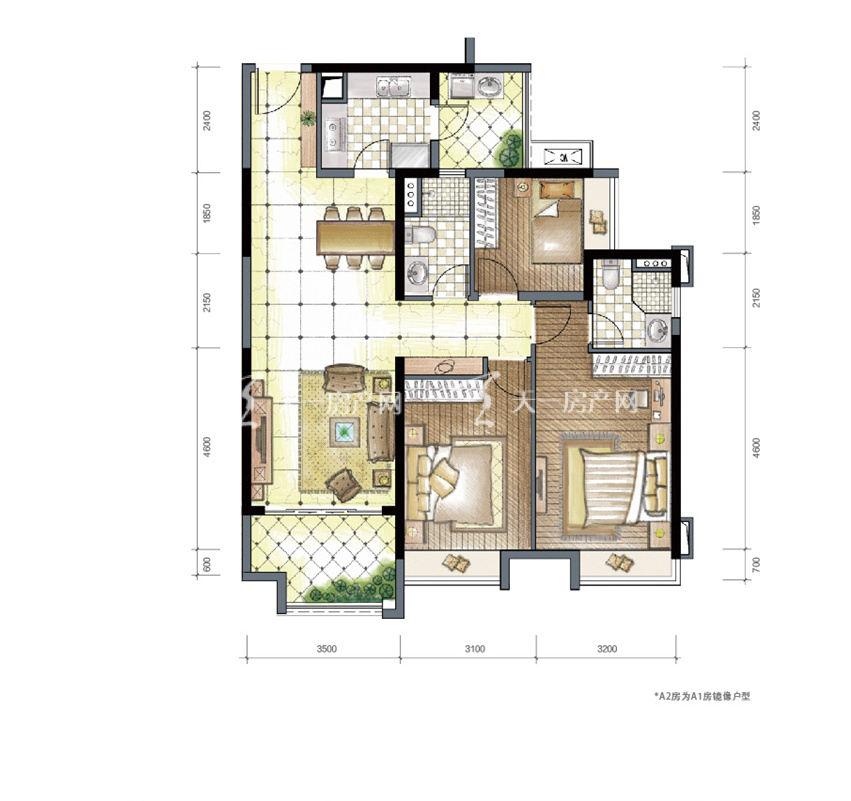九洲保利天和高层a1和a2户型建筑面积115㎡三房两厅两卫双阳台.jpg