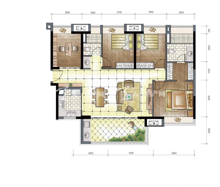 九洲保利天和高层a3户型建筑面积134㎡四房两厅两卫一阳台.jpg
