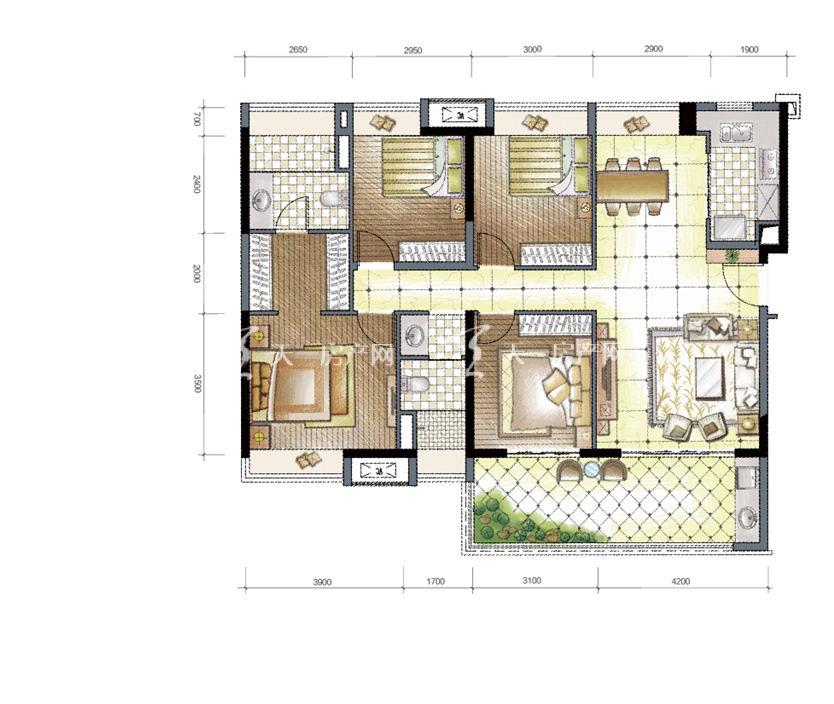九洲保利天和高层a4户型建筑面积137㎡四房两厅两卫一阳台.jpg