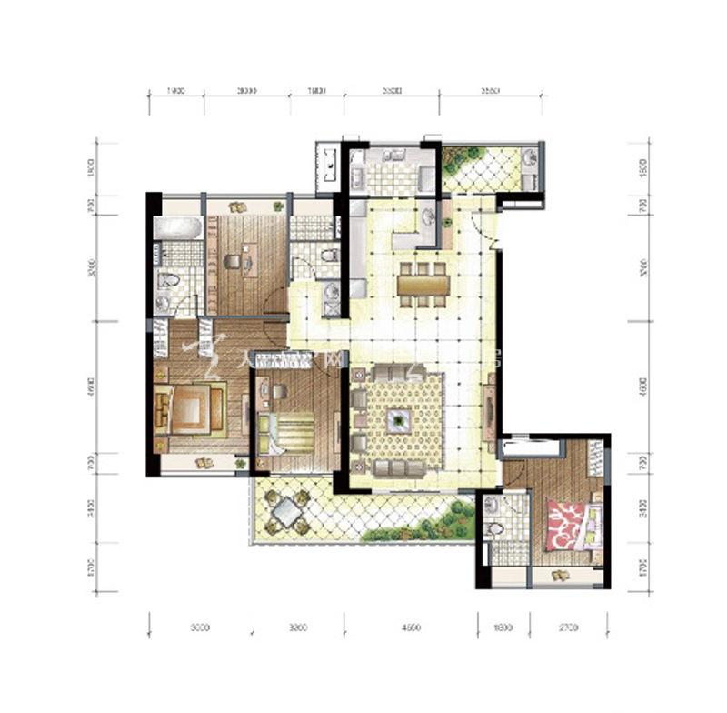 九洲保利天和高层d1和d2户型建筑面积194㎡四房两厅三卫双阳台.jpg
