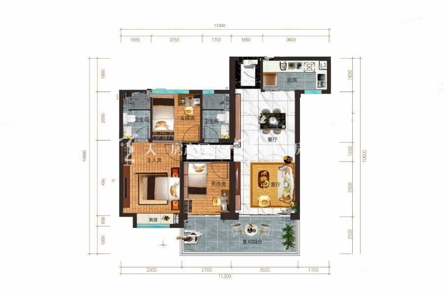 碧桂园公园上城Y316B户型/3室2厅2卫/建筑面积:约105m²