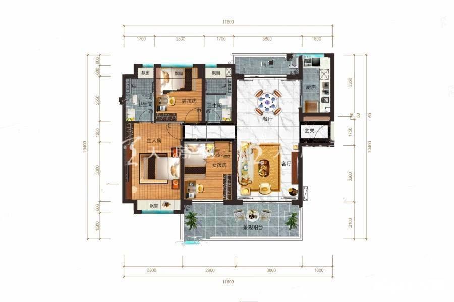 碧桂园公园上城Y316A户型/3室2厅2卫/建筑面积:约116m²