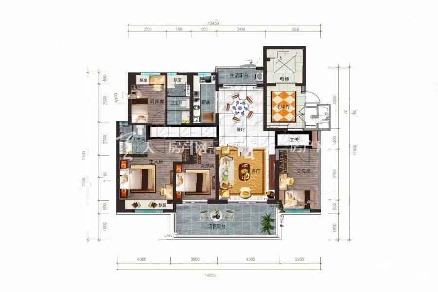 碧桂园公园上城YJ140B户型/4室2厅2卫/建筑面积:约146m²