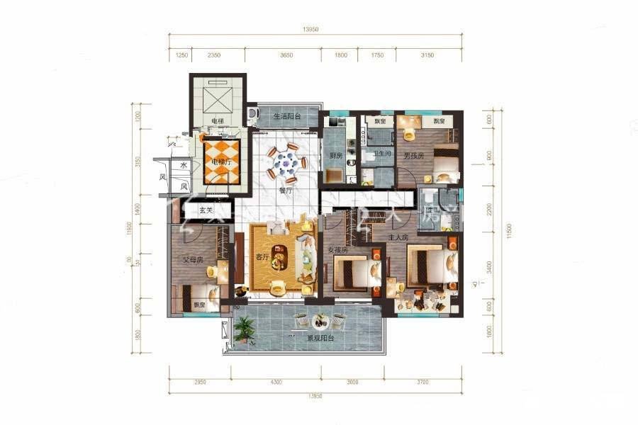 碧桂园公园上城YJ140A户型/4室2厅2卫/建筑面积:约146m²